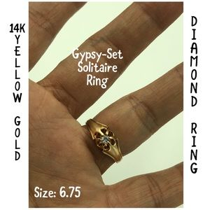 Jewelry - 14K Yellow Gold Gypsy-Set Solitaire Diamond Ring